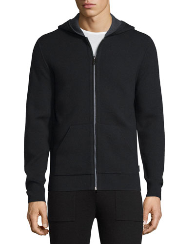 Double-Knit Zip-Up Hooded Jacket, Black