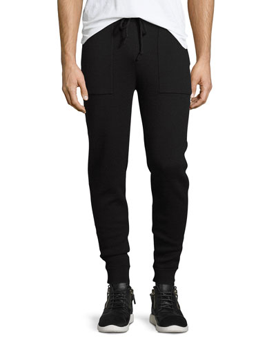 Double-Knit Drawstring Sweatpants, Black