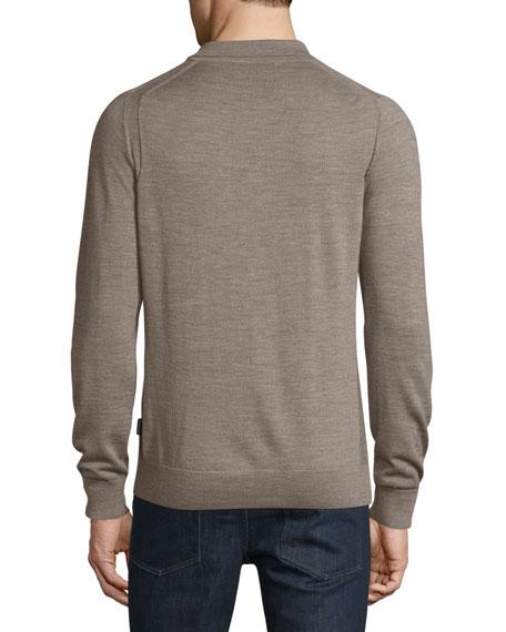 Michael kors long sleeve merino wool polo shirt for Long sleeve wool polo shirts