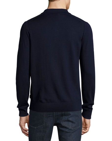 Master work-to-weekend dressing with this fantastic, long-sleeve, polo shirt. Boasting, all-natural, % merino fibres, this cool classic is both substantial and sleek. Team it with smart separates and leather accessories for work, and add to dark denim on the weekend.