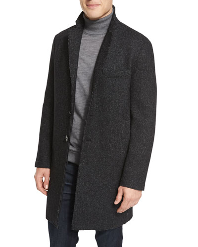 Wool-Blend Knit Crombie Coat