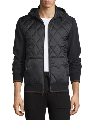 Quilted-Front Zip Hoodie, Black