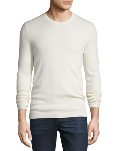 Cashmere Interlock Long-Sleeve Sweater, Ivory