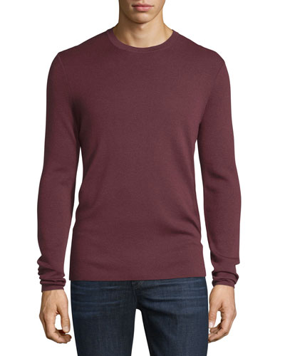 Interlock Long-Sleeve Cashmere Sweater, Burgundy