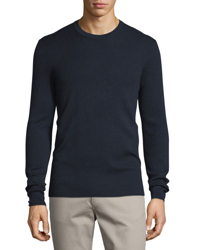 Interlock Long-Sleeve Cashmere Sweater, Midnight