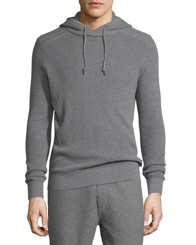Cotton-Blend Waffle-Knit Hoodie