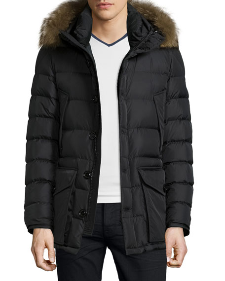 MonclerCluny Nylon Puffer Jacket with Fur Hood, Navy