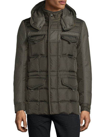Jacob Mixed-Media Down Field Jacket, Olive