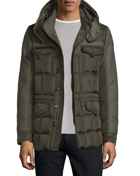 Moncler Jacob Mixed-Media Down Field Jacket, Olive