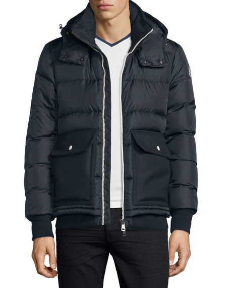 Moncler Rabelais Quilted Down Jacket Navy Neiman Marcus