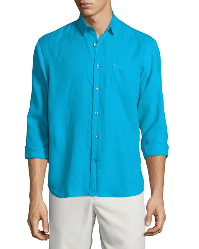 Caroubier Linen Long-Sleeve Shirt, Cobalt