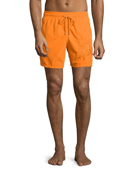 Vilebrequin Mistral Swim Trunks W/3D Turtle, Orange