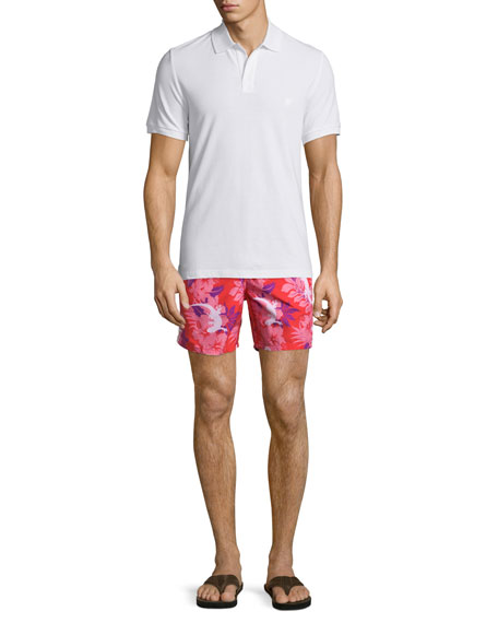 Moorea Gecko-Print Swim Trunks, Pink
