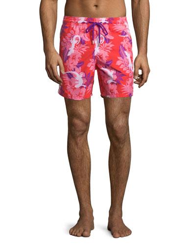 Moorea Gecko-Print Swim Trunks, Pink