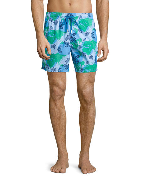 Moorea Globe & Turtle Printed Swim Trunks, Light Blue