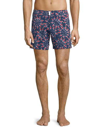 Merise Swimmers-Print Swim Trunks, Navy