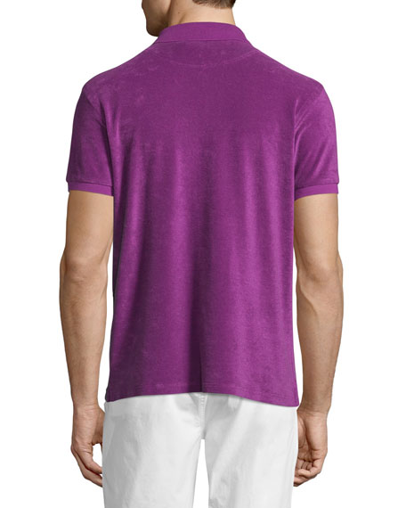 Terry Short-Sleeve Polo Shirt, Purple