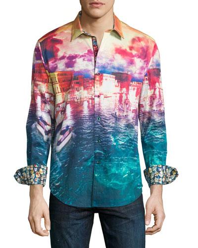 Venetian Lagoon Landscape-Print Sport Shirt, Multicolor