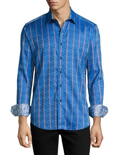 Demonte Jacquard Sport Shirt, Blue