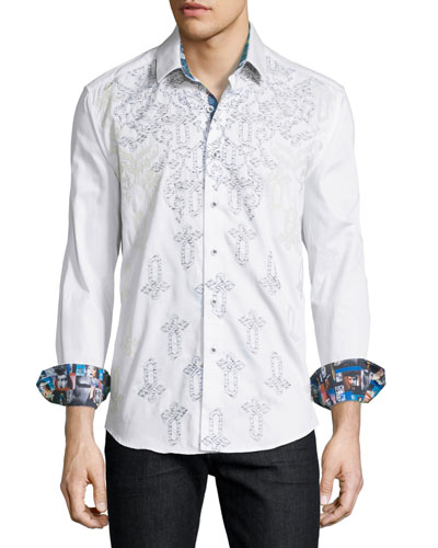 Baroque-Embroidered Long-Sleeve Sport Shirt, Off White