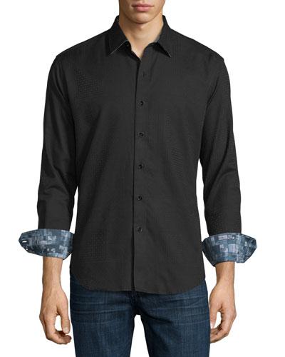 Lazzaro Tonal Jacquard Sport Shirt, Black