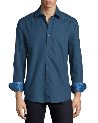 Kieran Tonal Fine-Stripe Sport Shirt, Blue