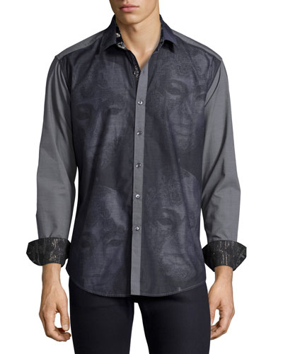 Limited Edition Mask Embroidered Sport Shirt, Black