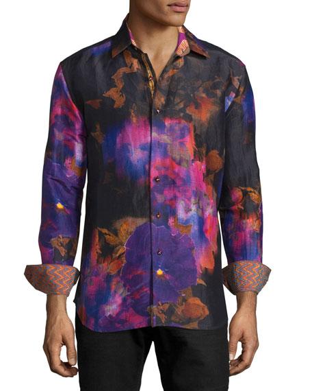 Robert graham limited edition tie dye floral sport shirt for Robert graham tall shirts
