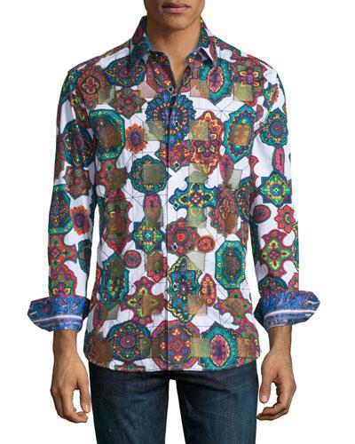 Prancer Mosaic Kaleidoscope Sport Shirt, White