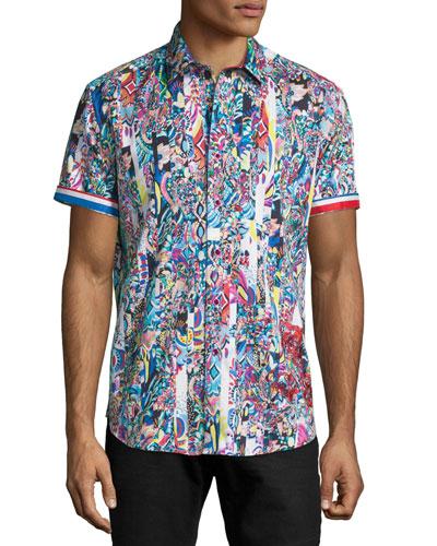 Multi-Print Short-Sleeve Sport Shirt, Multi Colors