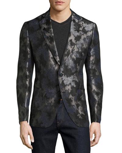 Dunloy Metallic Camo Sport Coat, Black