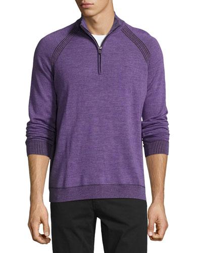 Jovanni Two-Tone Half-Zip Sweater, Heather Purple