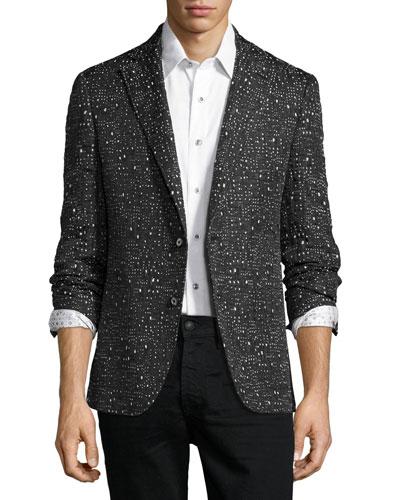 Garvagh Allover Textured Sport Jacket, Black