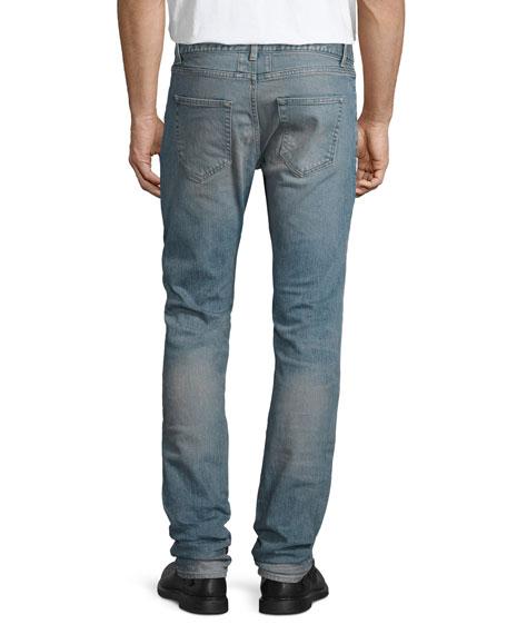 Repaired Straight-Leg Denim Jeans, Light Blue