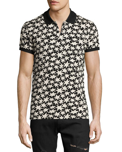 Allover Star-Print Polo Shirt, Black/White