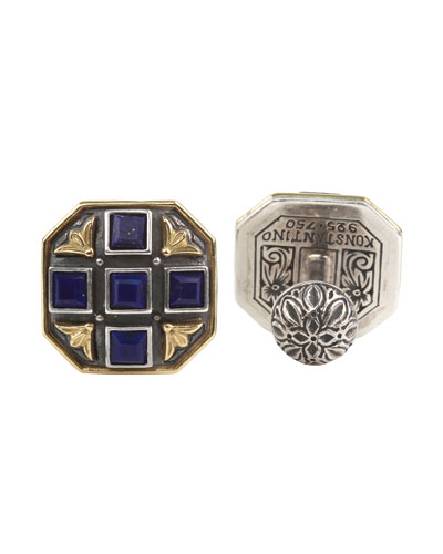 Blue Lapis Cross Cuff Links