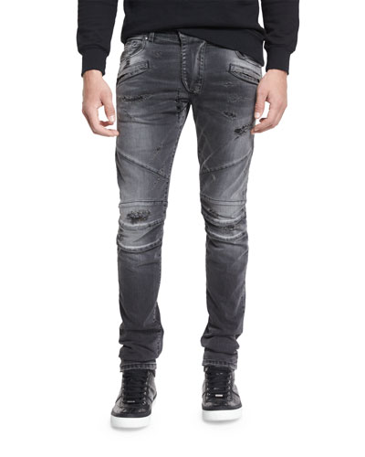 Distressed Slim-Fit Biker Jeans, Black Denim