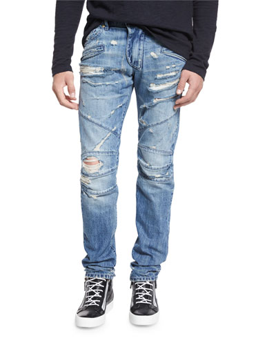 Destroyed Slim-Fit Biker Jean, Denim Blue