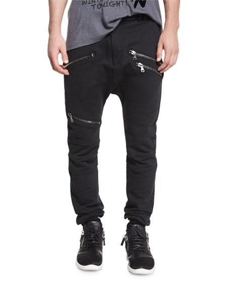 Pierre Balmain Drawstring Biker Sweatpants, Black