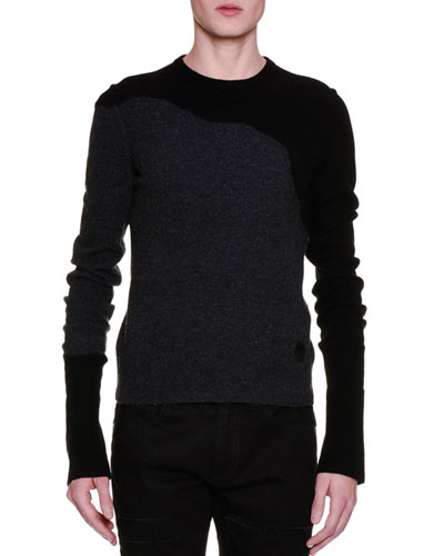 Swoosh Mixed-Media Crewneck Sweater, Black