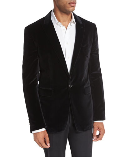 Velvet Peak-Lapel Single-Button Sport Jacket, Black