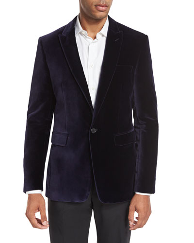 Velvet Peak-Lapel Single-Button Sport Coat, Purple