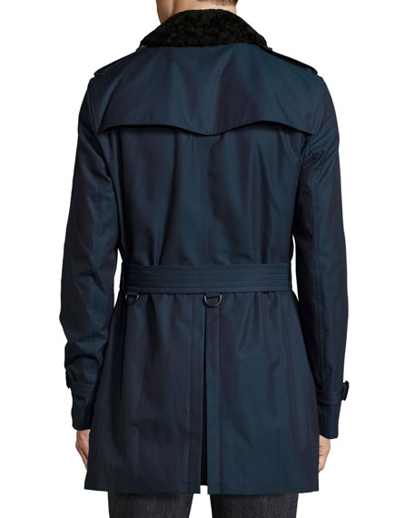 Gabardine Modern-Fit Trench Coat with Shearling Top-Collar, Teal Blue
