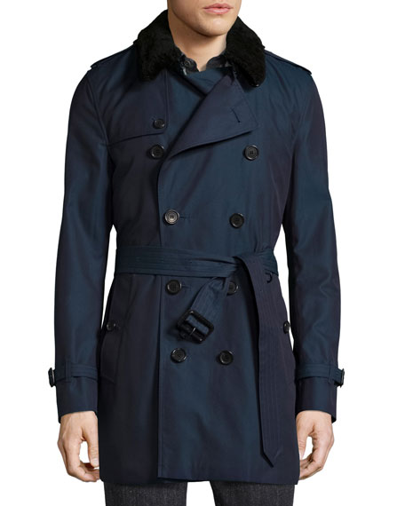 Burberry Gabardine Modern-Fit Trench Coat with Shearling