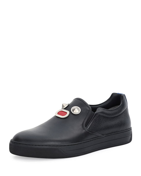 Fendi Metal-Face Leather Slip-On Sneaker, Black