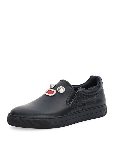 Fendi Metal-Face Leather Slip-On Sneaker, Black