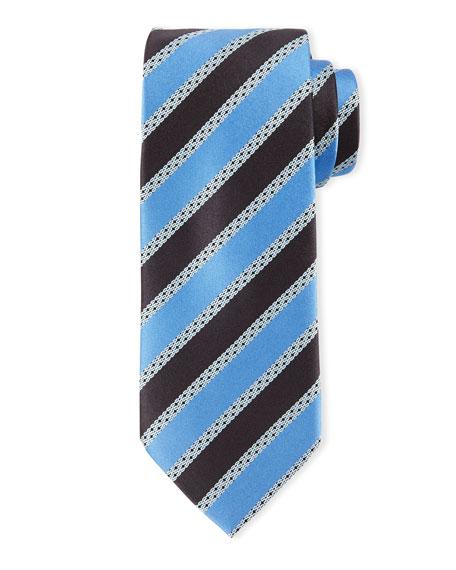 Satin-Striped Silk Tie, Light Blue/Navy