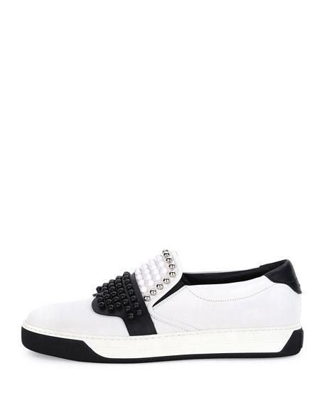 Karlito Beaded-Top Leather Slip-On Sneaker, White