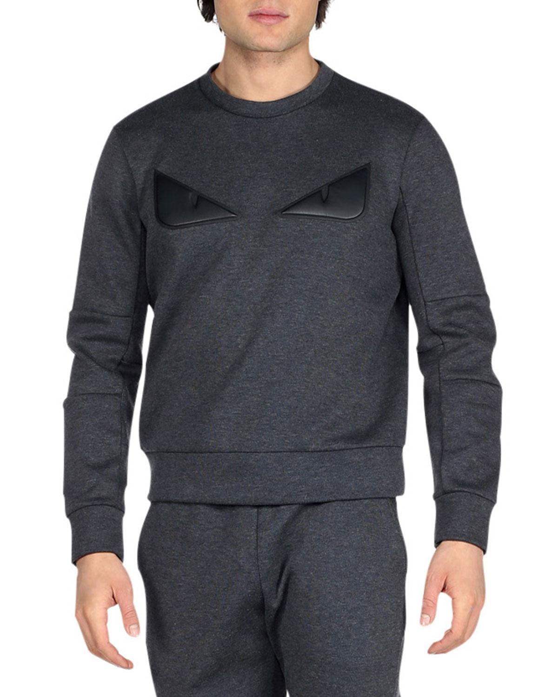ad524e8edc9b Fendi Monster Eyes Crewneck Sweatshirt, Gray   Neiman Marcus