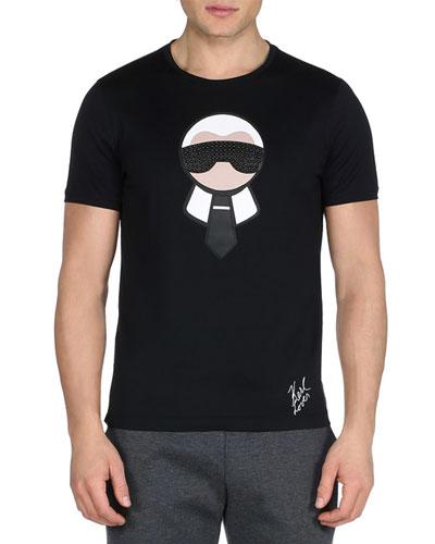 Karlito Studded Short-Sleeve Tee, Black